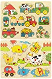 Spiel AG Holzpuzzle Set 2 Steckpuzzle Bauernhof Garten und Tiere 20 TLG