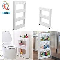 G4RCE 0B-HTJW-5KJ0I Slim Slide Out Kitchen Trolley Storage Shelf Organiser Moving Wall Cabinets Tower Holder Rack on Wheels 3 4 Tier, White