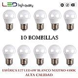 LED sphérique (Pack 10 unités) 6 W 200 ° blanc neutre 4500 K E27 520LM 220 V-240 V haute qualité