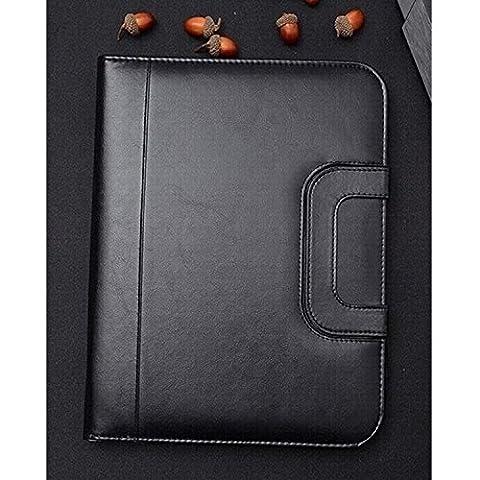 MM PU Leather Portable Handle Zippered File Padfolio A4 Folder