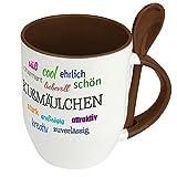 Löffeltasse mit Namen Kußmäulchen - Motiv Positive Eigenschaften - Namenstasse, Kaffeebecher, Mug, Becher, Kaffeetasse - Farbe Braun