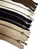 Beaulegan Metal Zippers 8 pcs - #3 Antique Brass Close-end, 30 cm/12 Inch