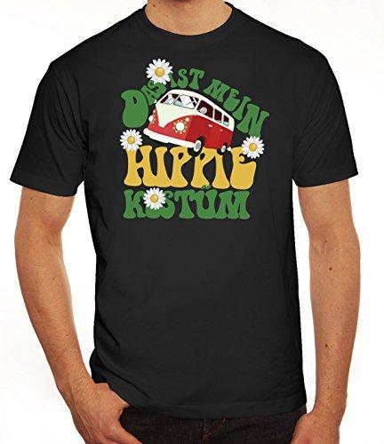 Fasching Karneval Herren T-Shirt mit Das ist mein Hippie Kostüm Motiv von ShirtStreet, Größe: (Männer Hippie Für Kostüme Halloween)