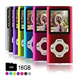 Ueleknight MP3-Player MP4-Player mit Einer 16G Micro SD-Karte, Wiedergabe 16GB Musik-Player Hi-Fi-Sound, tragbarer digitaler Musik-Player mit FM-Radio und Voice Recorder Funktion-rot