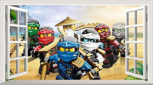Preisvergleich Produktbild LEGO Ninjago V200 selbstklebend Magic Wandtattoo Fenster Poster Wall Art Größe 1000 mm breit x 600 mm tief (groß) …