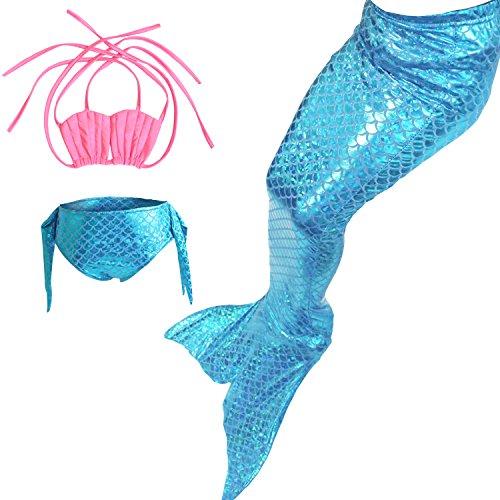 Das Beste Mädchen Meerjungfrau Bikini Kostüm Schwimmanzug Badeanzüge Tankini Muschelbikini Bademode Badeanzüge Meerjungfrauenschwanz Schwimmen Baden, 140, Farbe: Rosa+Blau1