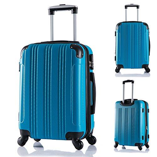 WOLTU RK4205ts Reise Koffer Trolley Hartschale mit erweiterbare Volumen , Reisekoffer Hartschalenkoffer 4 Rollen , M / L / XL / Set , leicht und günstig , Türkis (M, 56 cm & 42 Liter) - 2