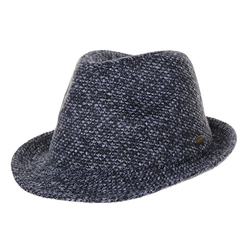WITHMOONS Fedora Hut Bogarthut Mafiahut Fedora Hat Bocasi Melange Knit Check Plaid Pattern SL6460 (Blue) (Herren Plaid Fedora)