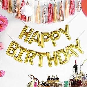 Shatchi 21006-BALLOONS-FOIL-HAPPY-BIRTHDAY-GOLD Guirnaldas de banderines de oro de 16 pulgadas, globos autoinflables de feliz cumpleaños para decoración de fiestas, habitación, jardín