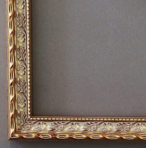 Bilderrahmen Brescia Gold 2,0 - DIN A4 (21,0 x 29,7 cm) - WRF - 500 Varianten - alle Größen - handgefertigt - Galerie-Qualität - Antik, Barock, Landhaus, Shabby, Modern - Fotorahmen Urkundenrahmen Posterrahmen (3x4 Bilderrahmen)