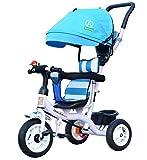 Multifunktions 4-in-1 Kind Dreirad Fahrrad Boy's Bike Mädchen Fahrrad für 6 Monate-6 Jahre alt Baby drei Räder Trolley mit Markise und Eltern Griff | Dämpfung | Vollgummi Rad ( Farbe : Blau )