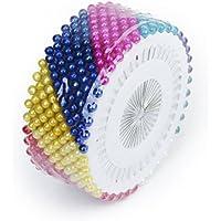 OUNONA Alfileres Cabeza de Perla Alfileres Acero Inoxidable para coser DIY Arte decoración 480 piezas (Multicolor)