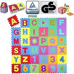 Alfombra Puzle para Niños | 36 Piezas | Gomaespuma EVA | Números y Letras, Tamaño de Cada Pieza 31,5 x 31,5 cm