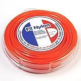 Fil débroussailleuse nylon 3 mm x 44 m. Carré. Orange. Blister