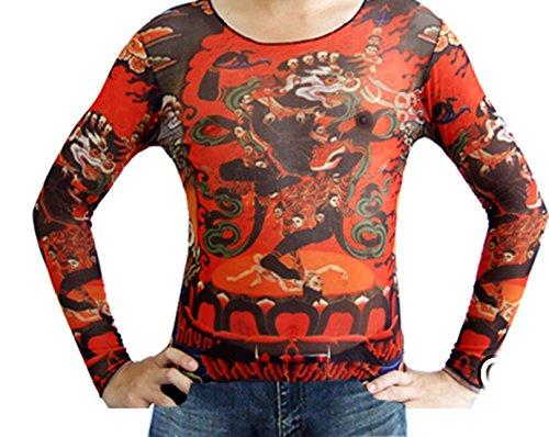 Pinkyee Herren Rot Ton Lotus und Monster Print Tattoo Top Mehrfarbig - CS22