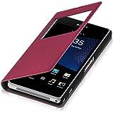 kwmobile Hülle für Sony Xperia Z1 Compact - Bookstyle Case Handy Schutzhülle Kunstleder mit Sichtfenster - Flipcover Klapphülle Pink
