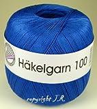 Häkelgarn 100 Gramm Baumwolle-Filet-Garn häkeln - Farbe royalblau_130