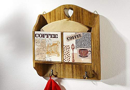 Holz-keramik - (Holz-Keramik-Wanddeko 2 Haken braun Kaffeedekor)