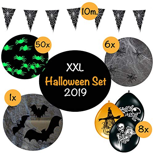 L+H Halloween Dekoration XXL Set in Premium QUALITÄT │ über 55 Teile │ großes Fledermausnetz und Spinnennetz │ leuchtende Spinnen Luftballons Girlande │ Deko ideal geeignet für die Halloween Party