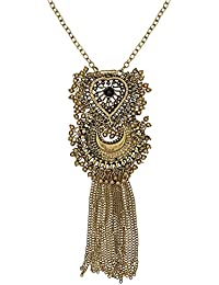 Afghan Boho Tassel Necklace For Women – Bohemian Dull Golden Metal Tassel Afghani Necklace By FreshVibes