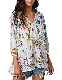 FAMILIZO_Camisetas Mujer Tallas Grandes Flores Verano Originales Blusa Mujer Elegante Manga Largo Algodón Otoño Fiesta Camisas