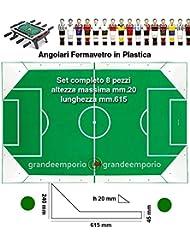 grandeemporio Calcio Balilla angolari Ferma Vetro Serie 8 Pezzi, 4 SX. e 4 DX, Altezza Massima cm. 2, Lunghezza mm.615, in plastica Bianca.