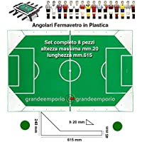 Calcio Balilla angolari ferma vetro serie 8 pezzi, 4 sx. e 4 dx, altezza massima cm. 2, lunghezza mm.615, in plastica bianca.