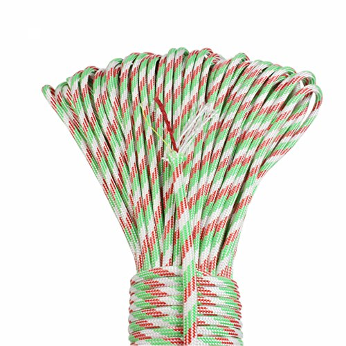 PSKOOK Paracord Überleben Cord Survival Cord mit Feuerstarter Cord Gewachst Jute Zunder + PE Angelschnur + Baumwollschnur Outdoor Commercial Grade Geflochtene Feuer Fallschirm Cord … (Rot Weiß Grün)