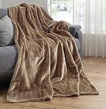 Alta calidad–Manta imitación piel, Topo/Marrón Claire, manta 150x 200visón–Manta colcha pelo sintético...