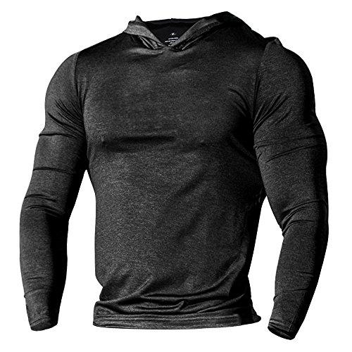Alivebody Herren Bodybuilding Tapered Langarm Slim Fit Sweat-Shirt Muskel Hoodie Heather Schwarz 3XL