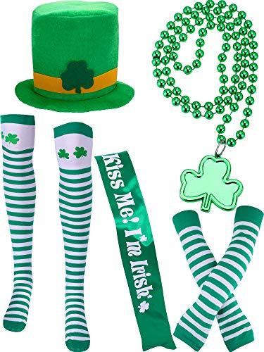 Chuangdi 5 Stück St. Patrick's Day Kostüm Zubehör Sets Enthalten Grünen Hut Gestreiften Socken Schärpe Perle Halskette Arm Ärmel für Irish Party ()