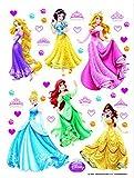 1art1 75259 Disney Prinzessin - Rapunzel, Schneewittchen, Aurora, Cinderella, Arielle, Belle Wand-Tattoo Aufkleber Poster-Sticker 65 x 42 cm