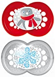 MAM 666988 - Maxi Ulti MAM Silikon, Winter Kollektion, 2 Schnuller, Größe 1 (6-16 Monate), rot