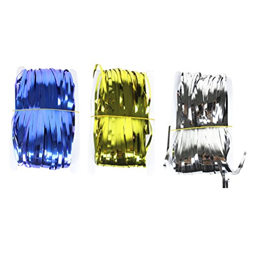 LUOEM 3PCS Metallfolie Fringe Vorhang Lametta Vorhang Streamer für Party Dekoration (Gold Silber Blau)