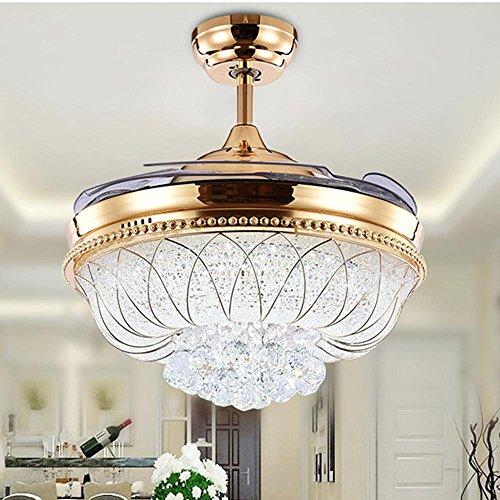 Ventilador LED Lámpara Cristal Salón Dormitorio Restaurante Con Ventilador 52 Pulgadas Conversión de Frecuencia