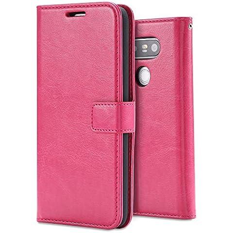 LG G5 Funda,LG G5 Case,Aomo Cartera de cuero cubierta de la caja [estilo del libro] [Ranura para tarjeta] [Flip Case] [el caso del soporte] de cuero de la PU de la caja del teléfono protector para LG G5 2016-Rosado