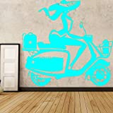 Ajcwhml Adesivi murali in vinile creativi per Bambini casa Corse staccabili adesivi murali decorazione Camera da letto murales BLU 58 cm X 54 cm