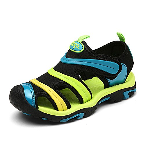 NASONBERG Jungen Sandalen, Kinder JungenMädchen Sandalette SchuheOutdoor Sport SandalenKlettverschluss SommerSchuhe,Green,34 EU