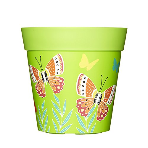 Macetas de exterior para jardín, maceta de plástico, 22cm, plástico, Green Butterflies,...
