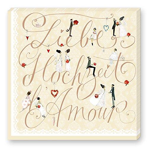 Grätz Verlag 20 Stück Servietten für Hochzeit mit Spitze, Cremefarben mit Figuren und Schriftzug, Beige, Retro, Vintage, Quadratisch, Hochzeitsservietten, Liebe, Hochzeit, Amor