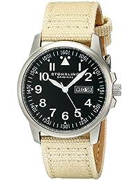 Stührling Original 850.02 - Reloj analógico para hombre, correa de tela y cuero, color beige