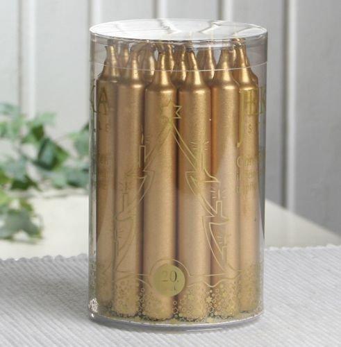"Premium-Baumkerzen \""Trend\"" (20er Dose), gold-metallic"