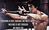 100yellow Matte Finish Bruce Lee Motivational Poster (Paper, Multicolour, 12x18 Inch)
