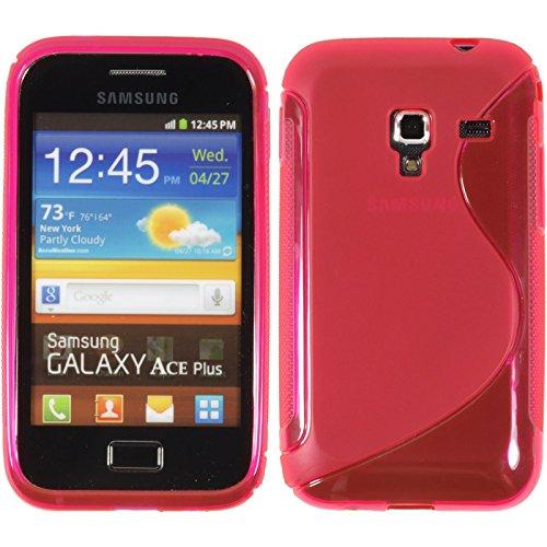 PhoneNatic Case kompatibel mit Samsung Galaxy Ace Plus - pink Silikon Hülle S-Style + 2 Schutzfolien