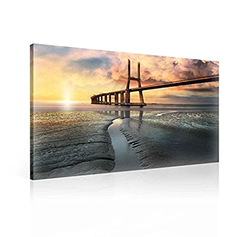 City Bridge Portugal Sunset Canvas Print - Photo Print - O6 - 80cm x 60cm - Premium 260gsm Canvas, Hand-Finished, Solid MDF Frame - 2.6cm Thick - Integrated Hanging Hook - City and Urban Collection - (PP2312O6)