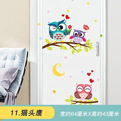 SMNCNL Kreative Katze parken Cartoon Kinder Tür Schlafzimmer Wand Dekor kunst Wallpaper 3d Wall Mount, cat-köpfige - Adler-raum-dekor