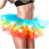Andouy Damen Party Club LED Beleuchtung Tutu Rock Tüll Mini Bubble Rainbow Kostüm Dress-up Sexy Größe 34-52(46-50,Mehrfarbig)