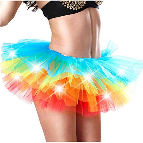 Andouy Damen Party Club LED Beleuchtung Tutu Rock Tüll Mini Bubble Rainbow Kostüm Dress-up Sexy Größe 34-52(42-46,Mehrfarbig)