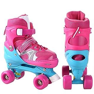 Ancheer Justierbare Kinder, die zweireihige Rollschuhe PVC-Rad-Dreifachverriegelungs-Maschen-Breathable Rollerblades für Anfänger / Kleinkinder / Kinder / Jungen / Mädchen ausbilden (Rosa, 35-38)