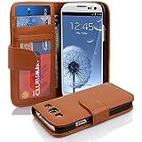 Cadorabo - Book Style Hülle für Samsung Galaxy S3 / S3 NEO (I9300) - Case Cover Schutzhülle Etui mit 3 Kartenfächern in COGNAC-BRAUN